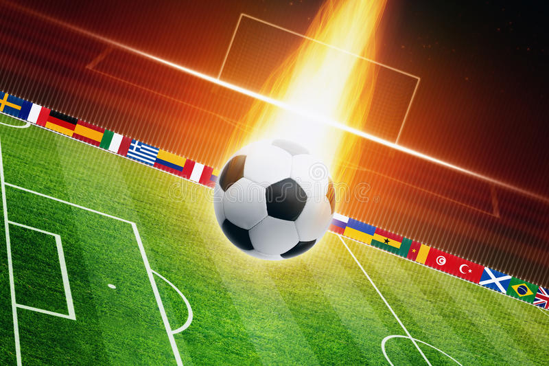 Brandende voetbalbal royalty-vrije illustratie