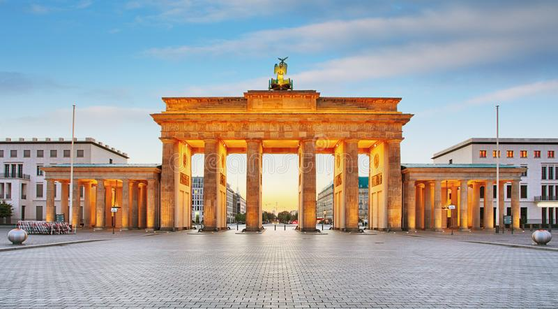 Branderburger Tor Brandenburg brama w Berlin, Niemcy zdjęcia stock