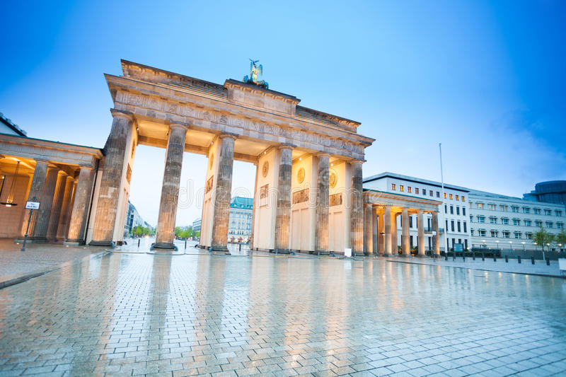 Branderburger Tor view at night with lights royalty free stock images