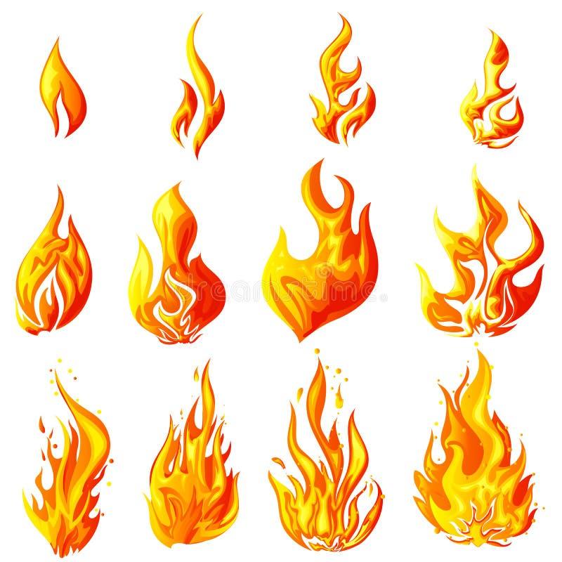 Brandflamma vektor illustrationer