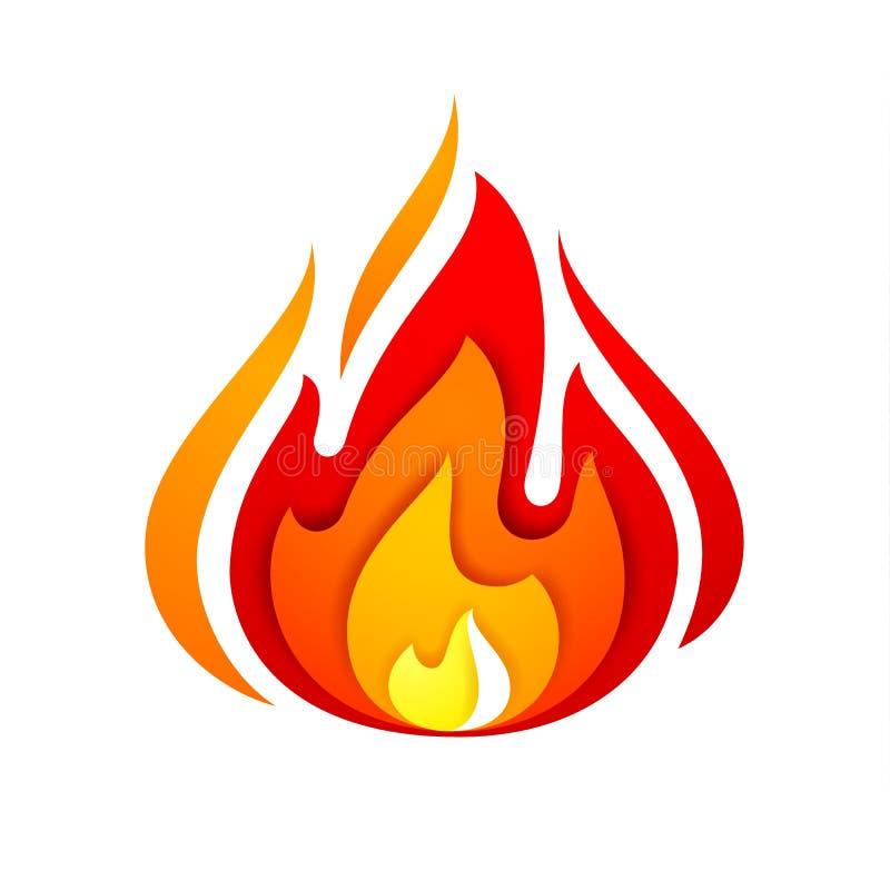 Brandflamma, gult rött stock illustrationer