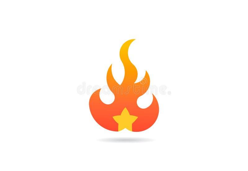 Brandflamma med stjärnan Vektorlogosymbol stock illustrationer