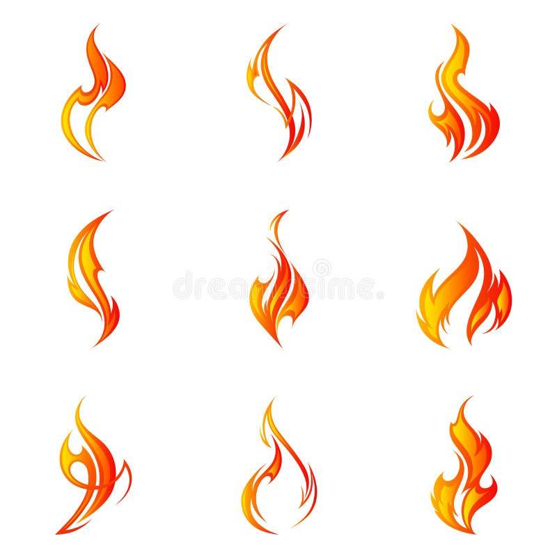 Brandflammauppsättning också vektor för coreldrawillustration royaltyfria bilder