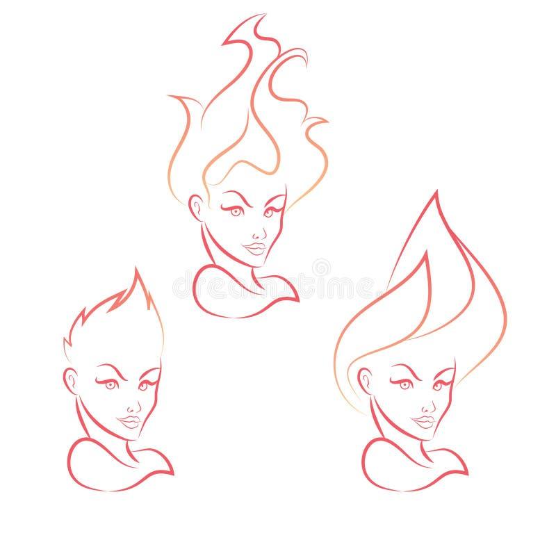 Brandflicka stock illustrationer