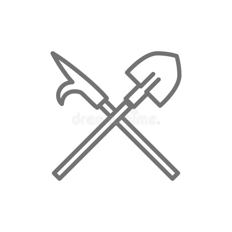 Brandgaff med skyffeln, brandmanutrustninglinje symbol vektor illustrationer