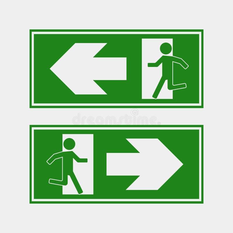 Brandgevaar Route van evacuatie vectorpictogram Evacuatieico stock illustratie