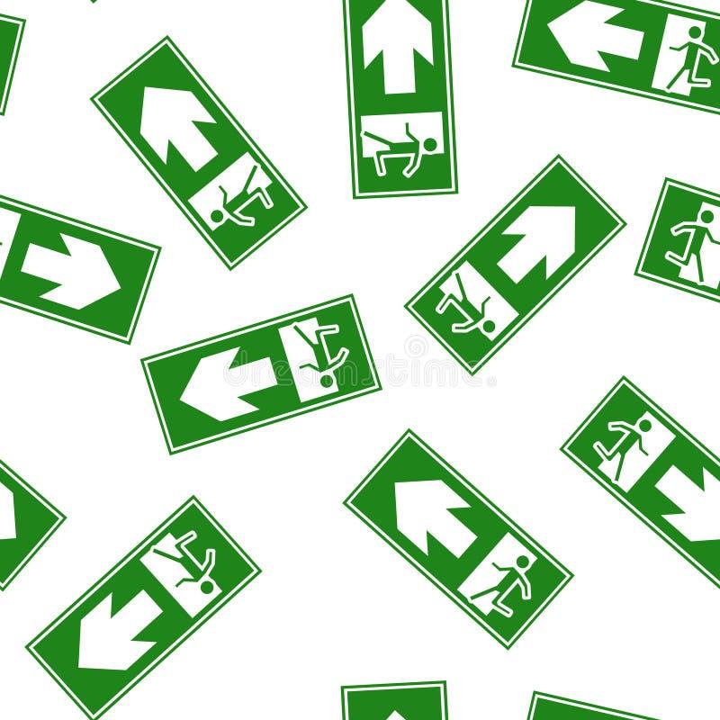 Brandgevaar Route van evacuatie vectorpictogram Het evacuatiepictogram die de richting tonen aan linkerzijde en recht Ge?soleerd  vector illustratie