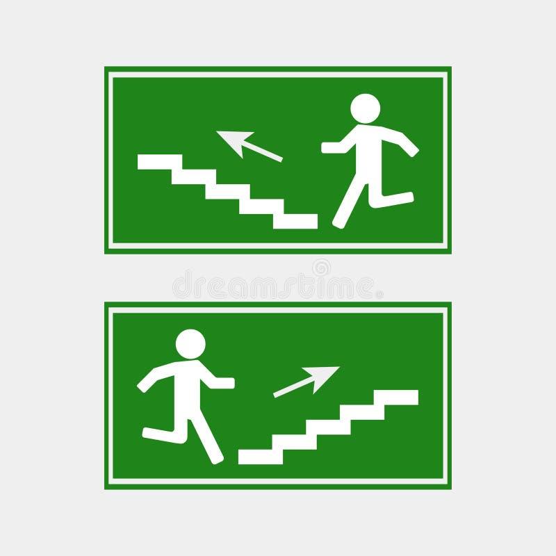 Brandgevaar Route van evacuatie vectorpictogram Pictogram van evacuatie vector illustratie