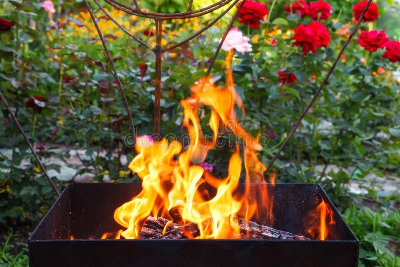 Brandhout in een koperslager Brand, vlammen Grill of barbecue stock foto