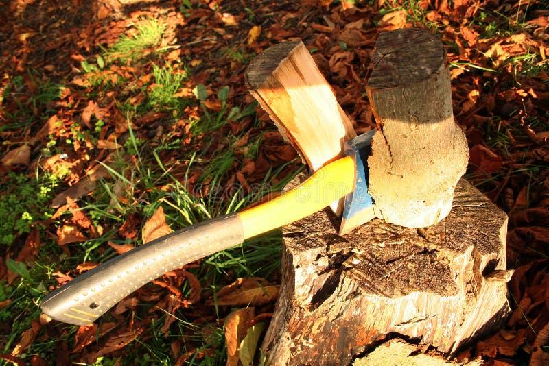 brandhout het hakken stock afbeeldingen