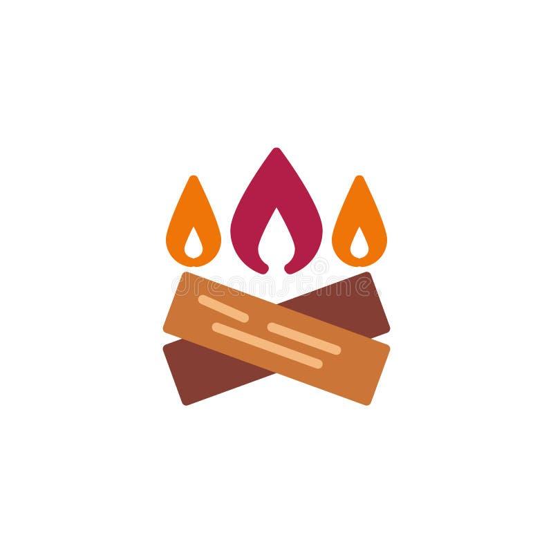 Brandhout met vlam vlak pictogram royalty-vrije illustratie