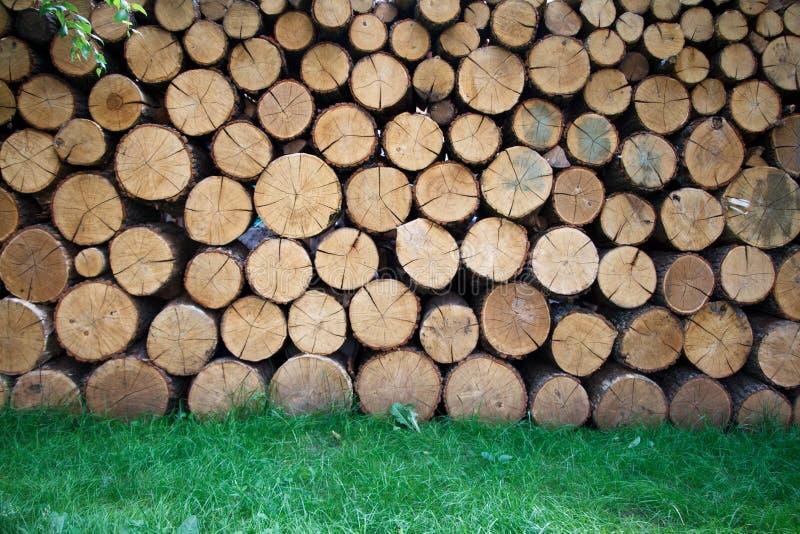 Brandhout op de winter wordt en wordt voorbereid gestapeld die Stapel van houten logboeken Gehakt brandhout op een stapel royalty-vrije stock foto