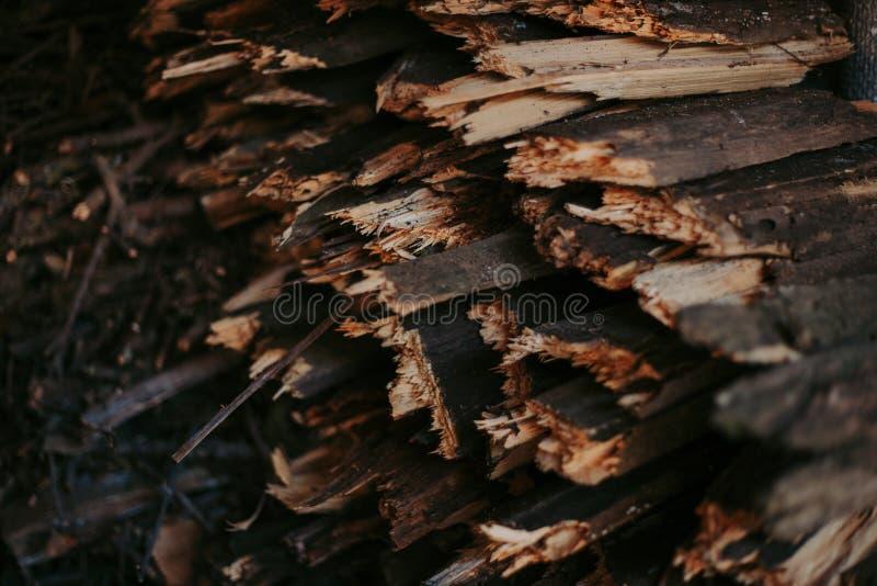 Brandhout, voor brand, in een vlakke stapel wordt gestapeld die Muurbrandhout stock foto's