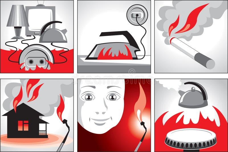brandillustrationsäkerhet stock illustrationer