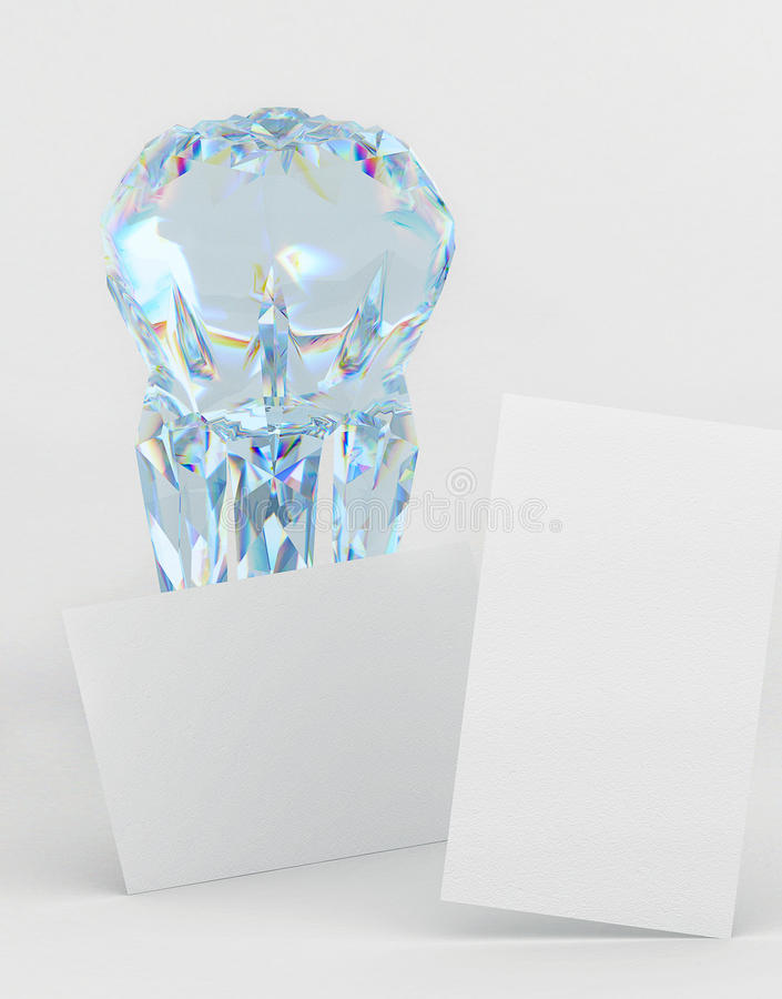 Branding business card mock-up for dentistry with a diamond tooth royalty free stock image
