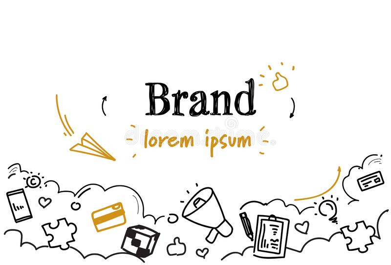 Branding business creative development brand concept sketch doodle horizontal isolated copy space royalty free illustration