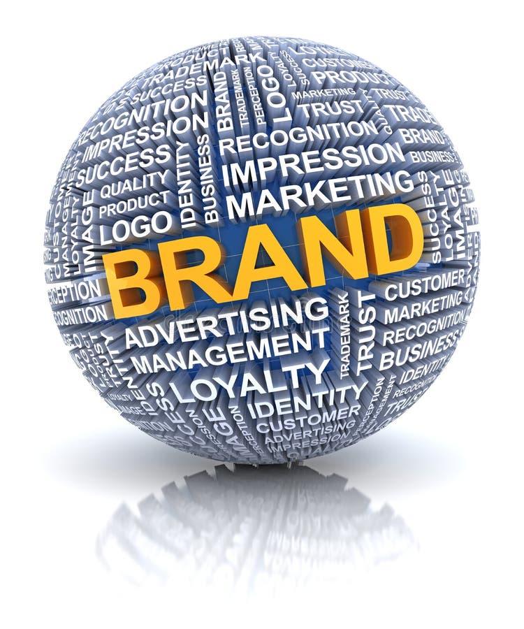 Branding concept. Branding words on sphere, 3d render, white background stock illustration