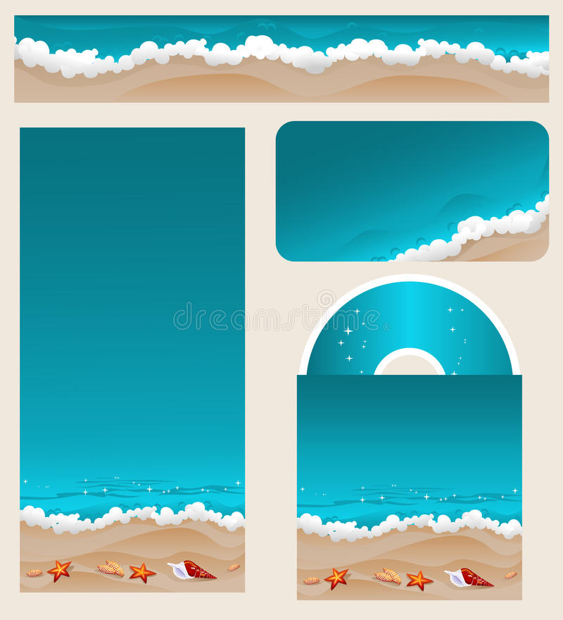 Branding Design Beach Theme. Summer beach vacation theme for identity firm design. Coastline with surf, sand and shells. Travel agency theme. Set of business stock illustration