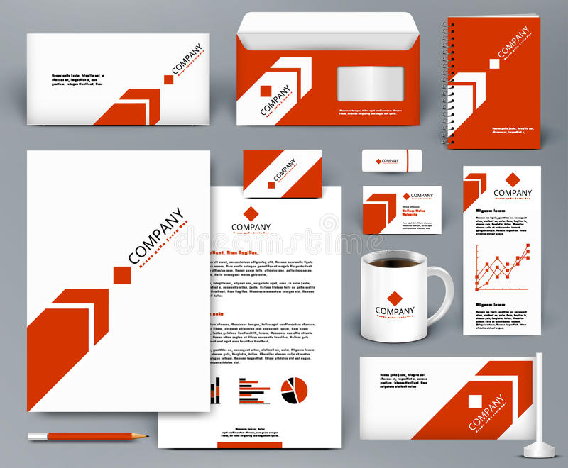 Branding design kit with red arrow on white backdrop stock illustration