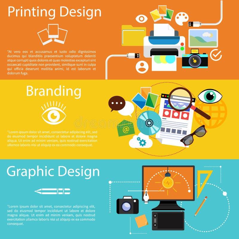 Branding, graphic design and printing design icon. Concept icon set in flat design for creative idea, printing process, graphic design and branding on multicolor vector illustration