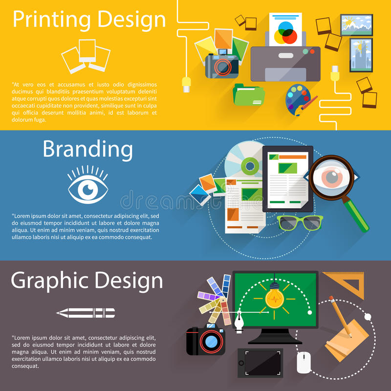 Branding, graphic and printing design icon set. Concept icon set in flat design for creative idea, printing process, graphic design and branding on multicolor royalty free illustration