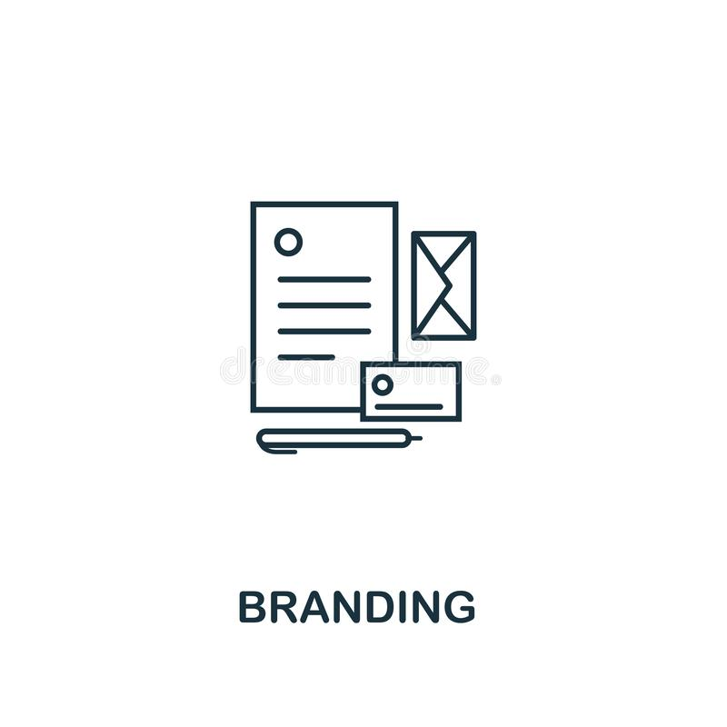 Branding icon thin line style. Symbol from online marketing icons collection. Outline branding icon for web design, apps vector illustration
