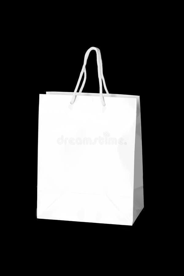 Mockup of paper shopping bag isolated on Black background royalty free stock image