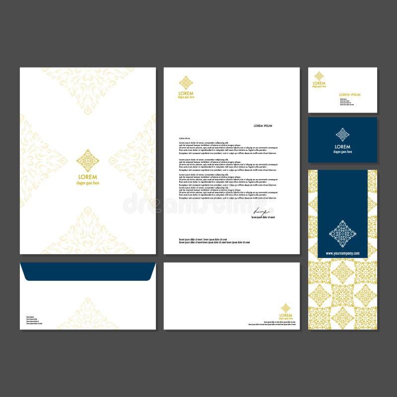 Branding identity template corporate company design. Set - business card, brochure, letter, envelope, poster, leaflet for hotel, resort, spa, luxury premium vector illustration