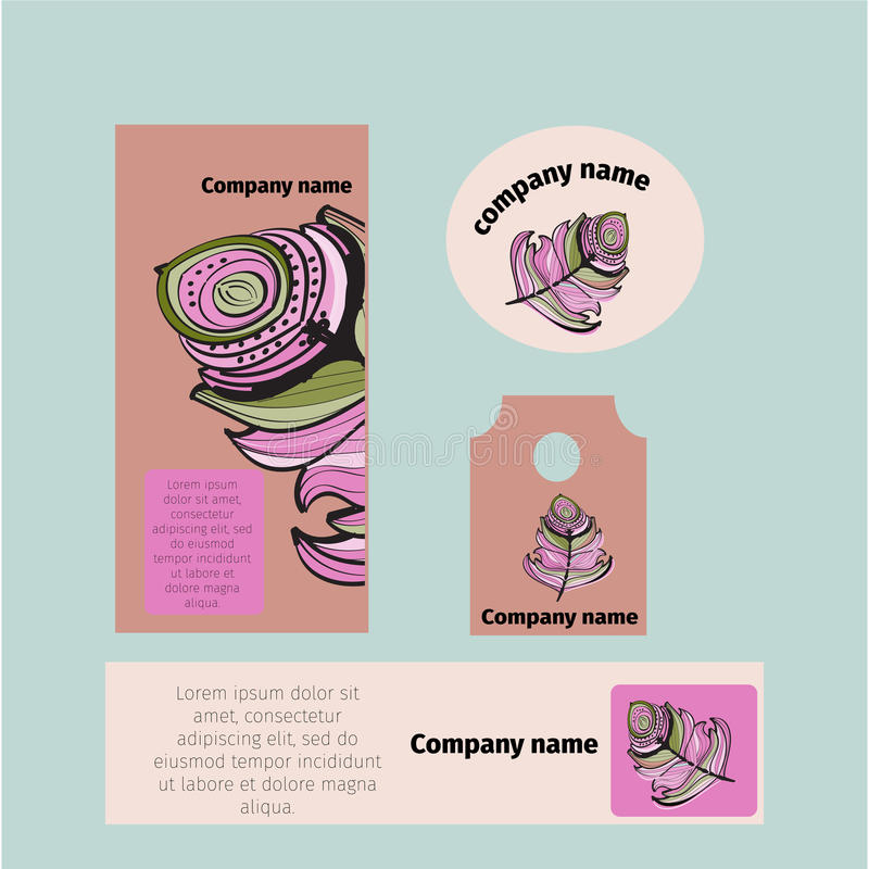 Branding identity template corporate company design, Set for business hotel, resort, spa, luxury premium logo, stock illustration