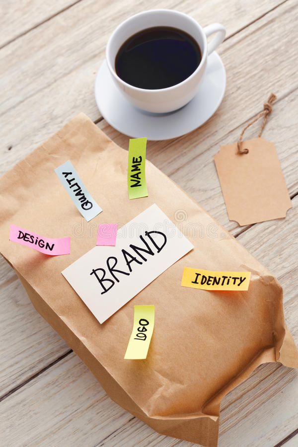 Branding marketing concept with paper bag and coffee royalty free stock photo