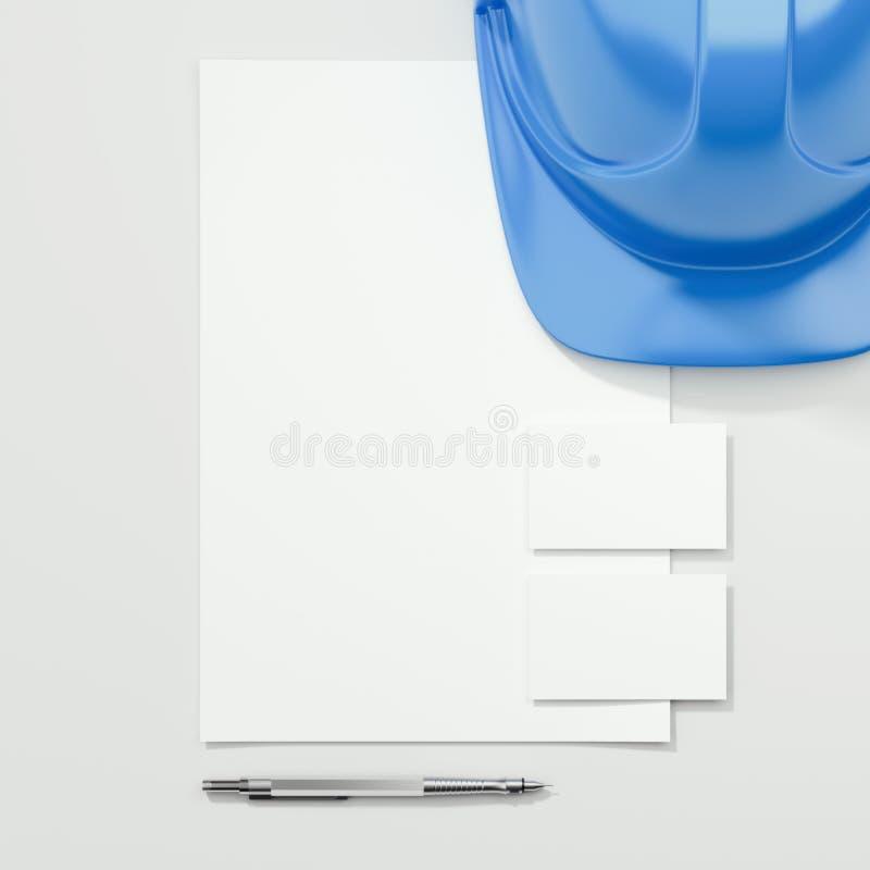 Branding mockup with blue helmet. 3d rendering. Modern branding mockup with blue helmet. 3d rendering royalty free illustration