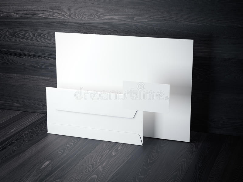 Branding mockup on the dark wooden floor. 3d rendering. White branding mockup on the dark wooden floor. 3d rendering royalty free illustration