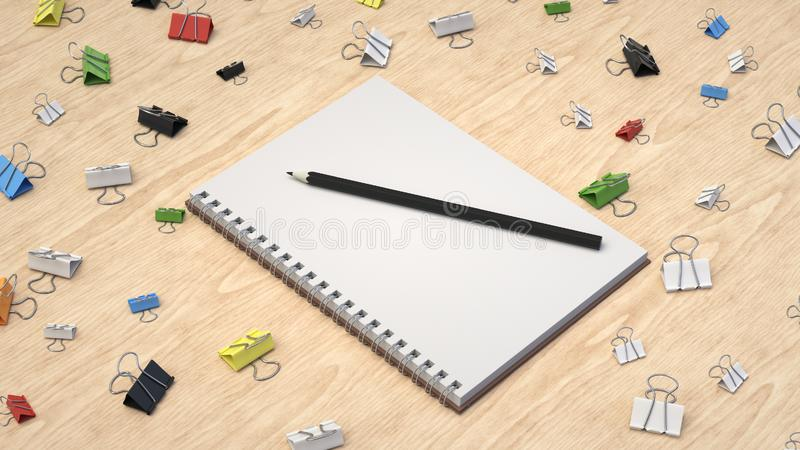 Notebook with pencil and binder clips. Branding mockup. Notebook with pencil and binder clips. 3D rendering illustration stock illustration