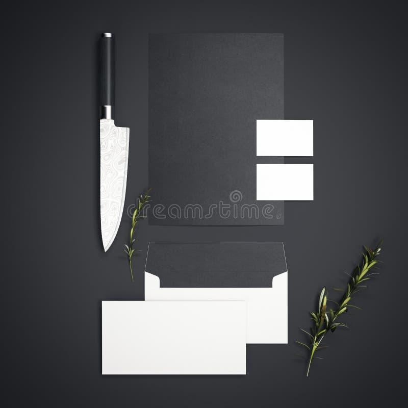 Branding restaurant mockup with sharp knife. 3d rendering. Branding restaurant mockup with sharp knife on dark floor. 3d rendering stock illustration