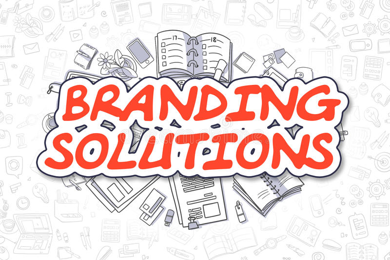 Branding Solutions - Doodle Red Text. Business Concept. royalty free illustration