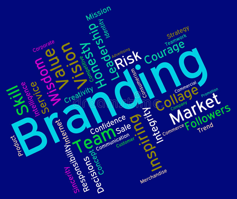 Branding Words Shows Company Identity And Branded stock illustration