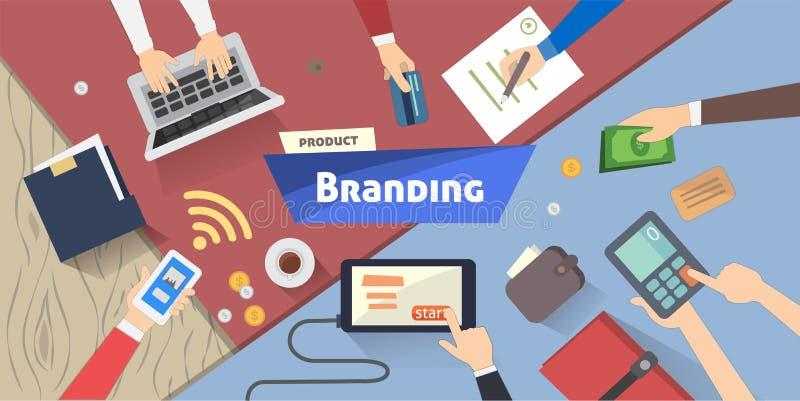 Brandingkonzept, kreative Idee, digitales Marketing auf Tischplattenvektorillustration vektor abbildung