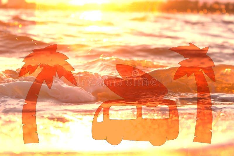 brandingsauto op het strand stock foto's