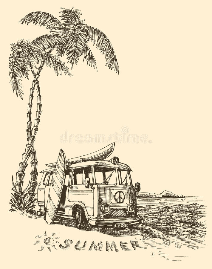 Brandingsbestelwagen op het strand vector illustratie