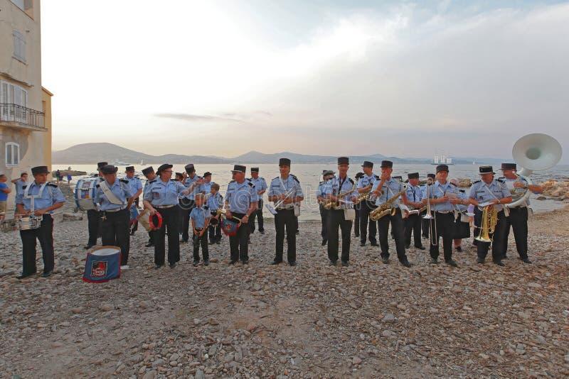 Brandkårorkester Saint Tropez royaltyfri fotografi