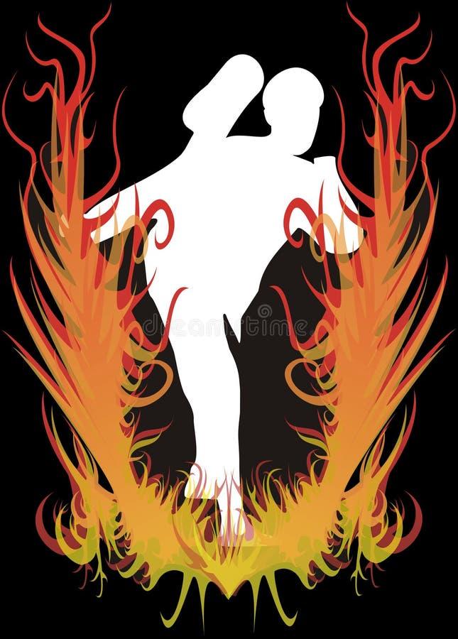 brandkarateka royaltyfri illustrationer