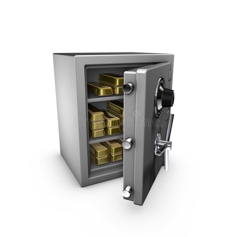 Brandkast met goldbars royalty-vrije illustratie