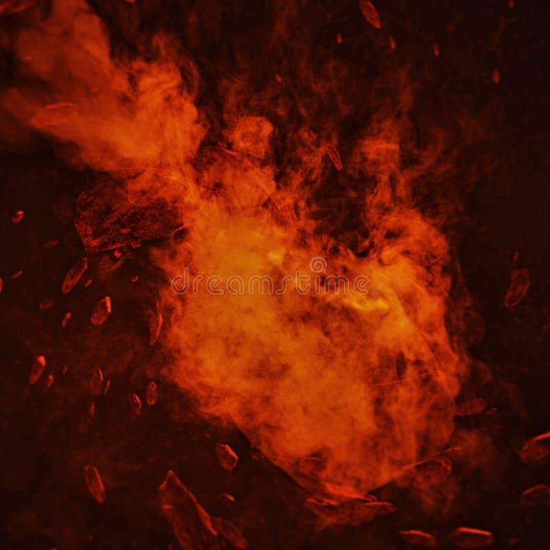 Brandkomet i utrymme med meteorstormen Kraftigt flytta sig för stjärna Begreppskonst arkivbild