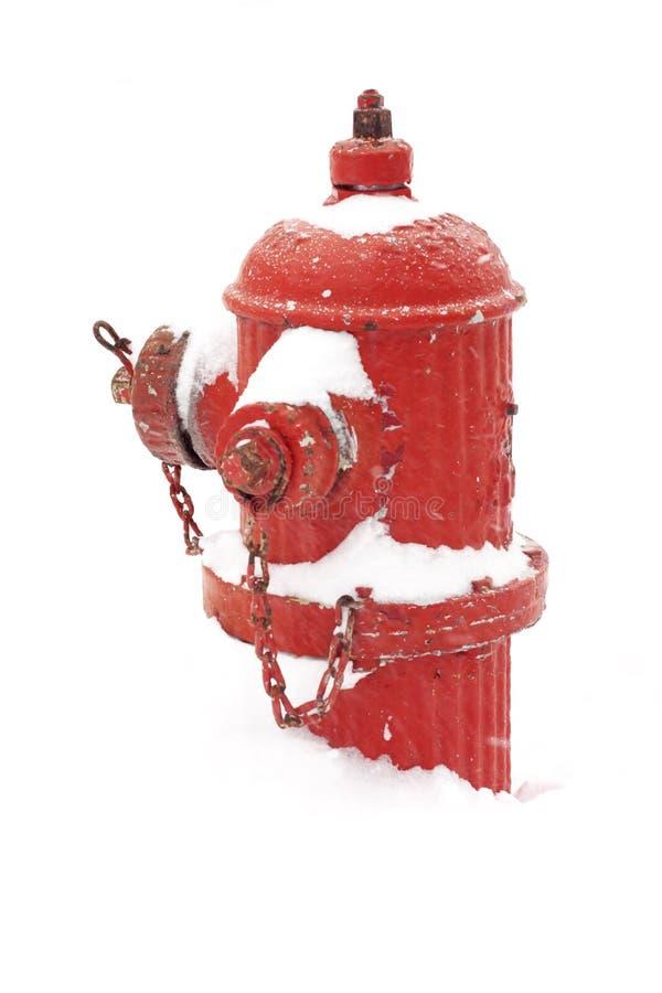 Brandkraan die in sneeuw wordt begraven stock afbeelding