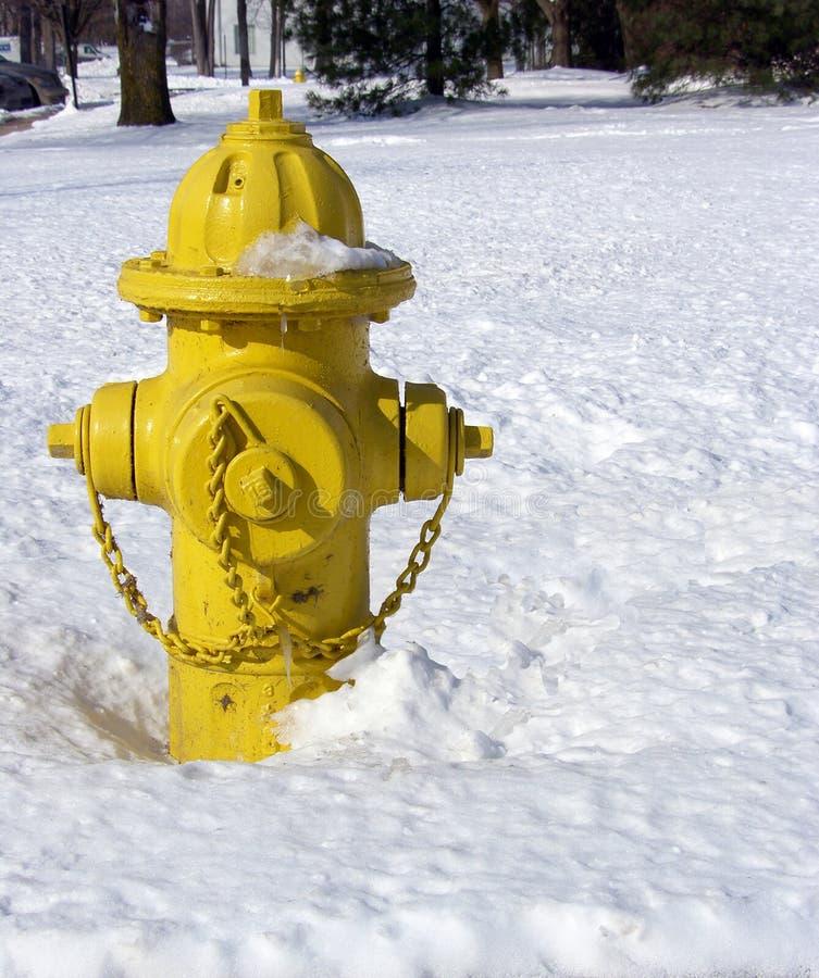 Brandkraan in sneeuw royalty-vrije stock afbeeldingen