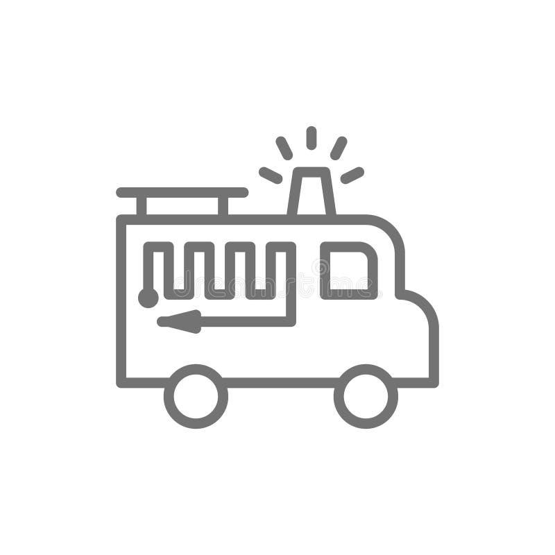 Brandlastbil med blinkerlinjen symbol bakgrund isolerad white vektor illustrationer