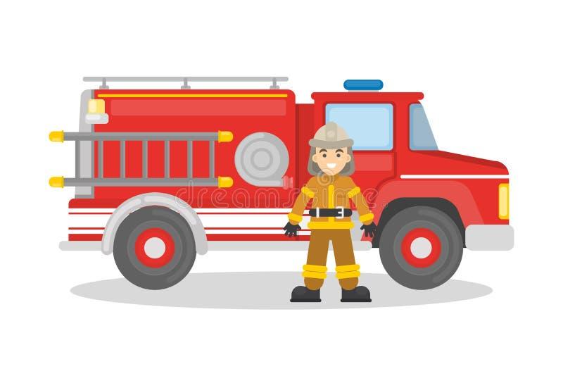 Brandlastbil med brandmannen vektor illustrationer