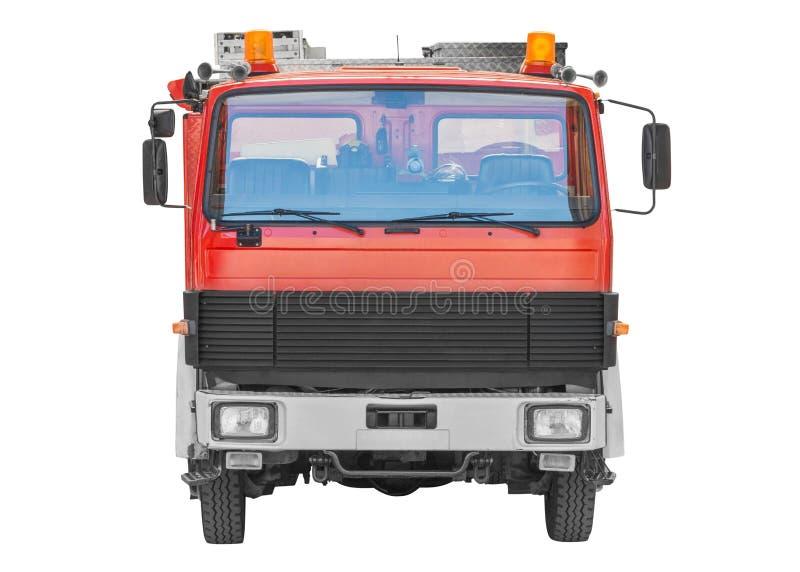 Brandlastbil som isoleras på vit bakgrund arkivbilder