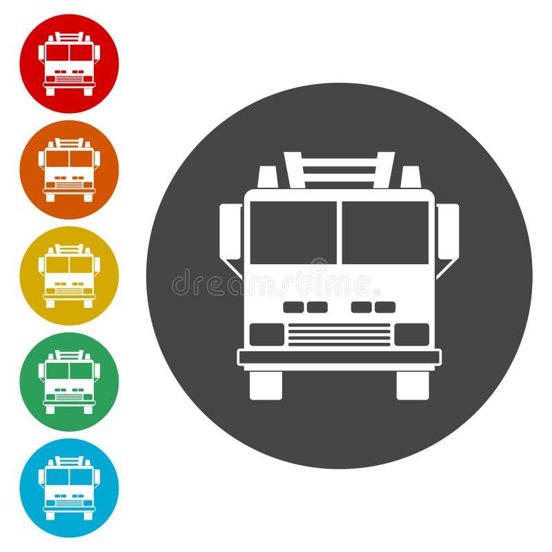 Brandlastbil, uppsättning för symbol för brandstation stock illustrationer