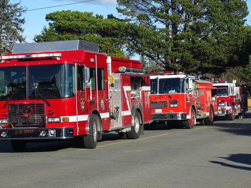 Brandlastbilar på nöd- appell fotografering för bildbyråer